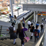 Connection between Medellín's Metrocable and Metroplús rapid transit systems